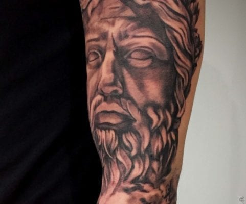 Black and Grey Zeus | Electric Fresco Tattoos PDX