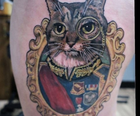 Cat with Monocle | Electric Fresco Tattoos PDX