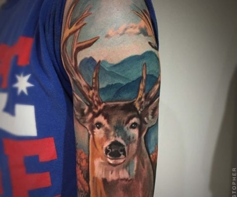 Deer Portrait | Electric Fresco Tattoos PDX