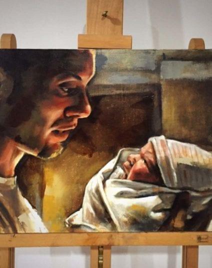 Father & Newborn | Electric Fresco Tattoos PDX