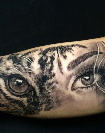 Womans Eye and Tiger Eye Tattoo | Electric Fresco Tattoos PDX