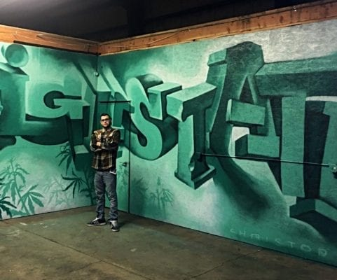 Green Spray Painting Mural | Electric Fresco Tattoos PDX