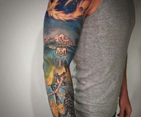 North 101 Landscape Sleeve | Electric Fresco Tattoos PDX