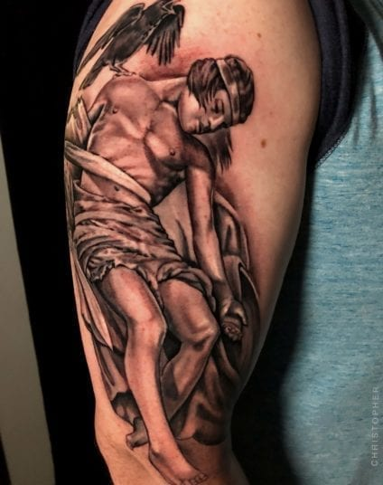 Man with Crow on Shoulder | Electric Fresco Tattoos PDX