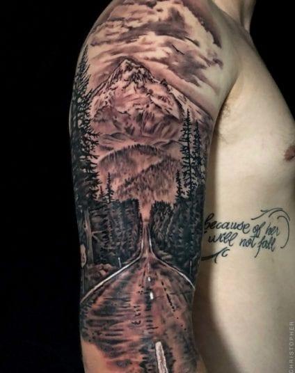 Mt Hood Freeway | Shoulder | Electric Fresco Tattoos PDX