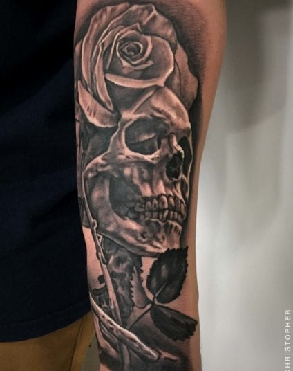 Rose and Skull   Electric Fresco Tattoos PDX
