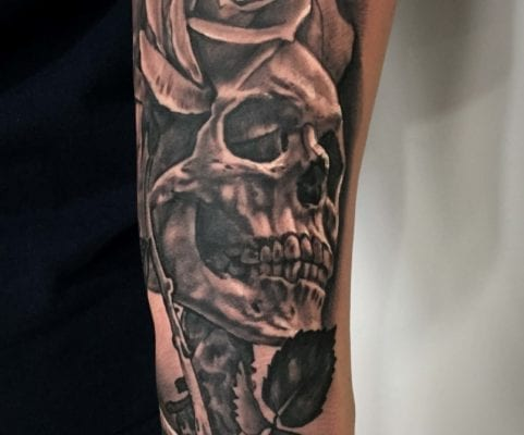 Rose and Skull | Electric Fresco Tattoos PDX