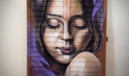 Female Portrait on Shutters | Electric Fresco Tattoos PDX