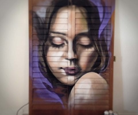 Female Portrait on Shutters | Electric Fresco Tattoos PDX