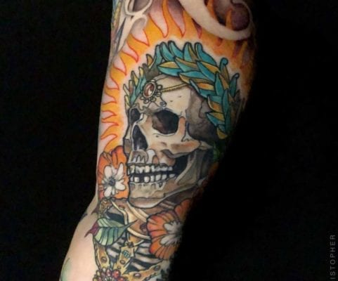 Skull with Crown | Electric Fresco Tattoos PDX