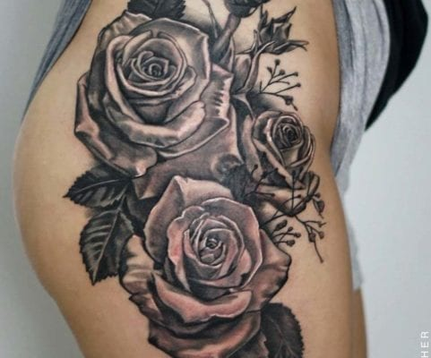 Thigh Roses | Electric Fresco Tattoos PDX