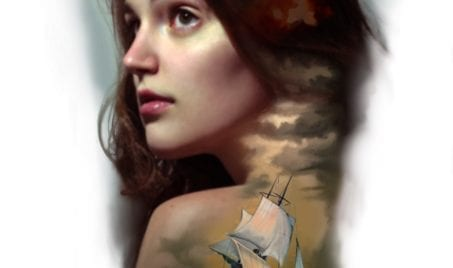 Available Tattoo: Woman Portrait Over a Ship | Electric Fresco Tattoos PDX