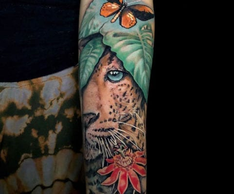 Junlge Cat Arm Tattoo | Electric Fresco Tattoos PDX